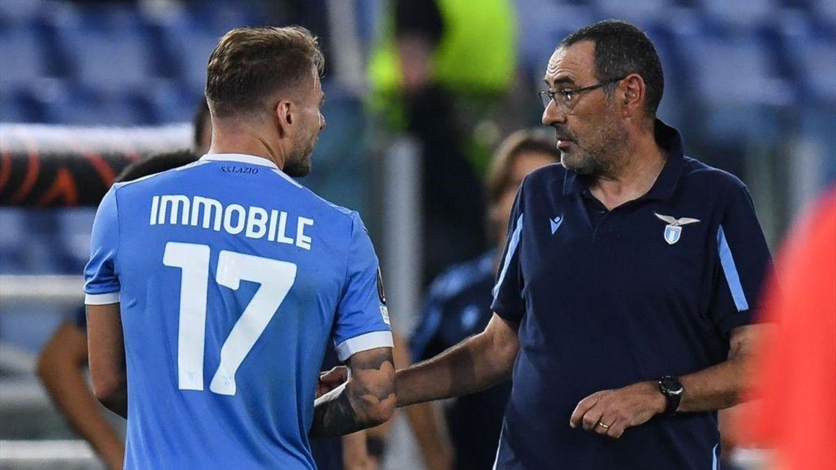 Immobile sostituito da Sarri nel primo tempo di Lazio-Lokomotiv Mosca - Europa League 2021/2022
