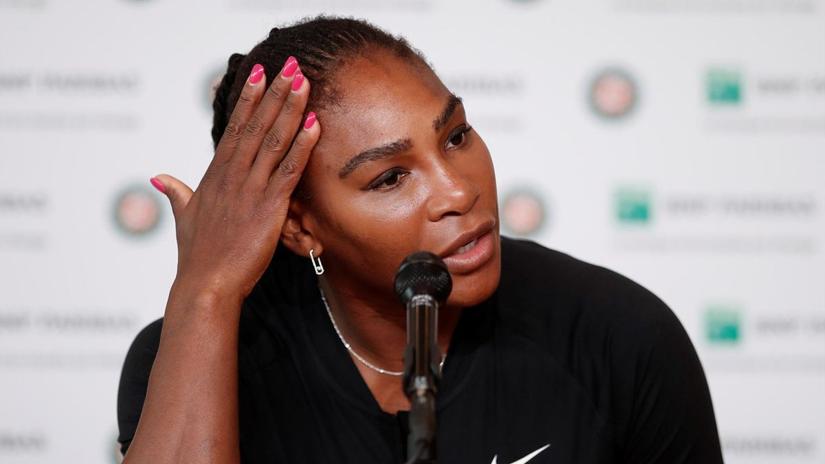 Serena Williams during her injury press conference at Roland Garros
