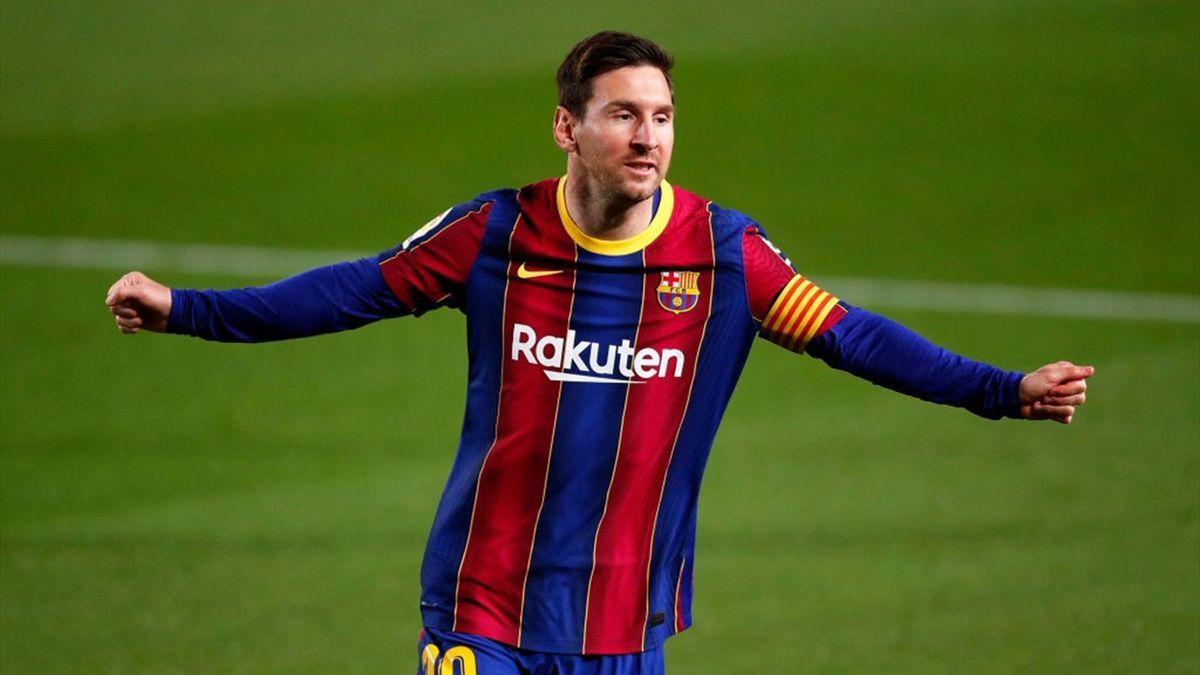 Messi esulta per il gol realizzato in Barcellona-Getafe - Liga 2020/2021