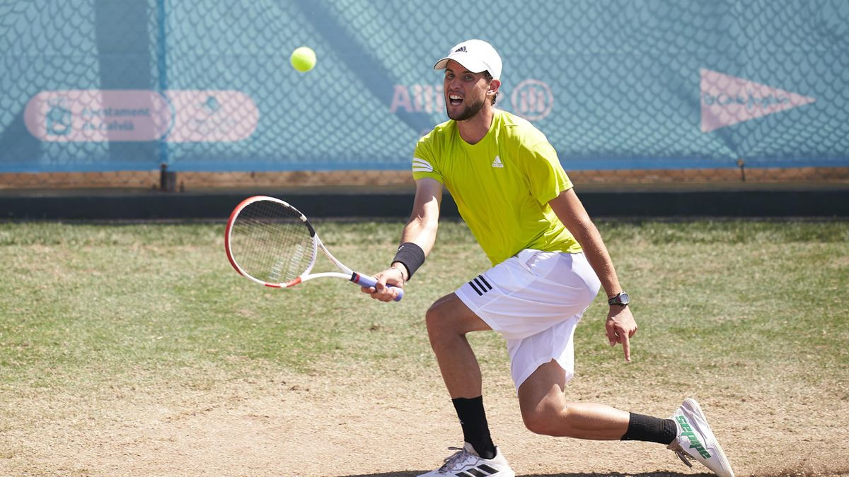 Dominic Thiem of Austria plays a forehand shot during a training session on day three of the Mallorca Championships 2021