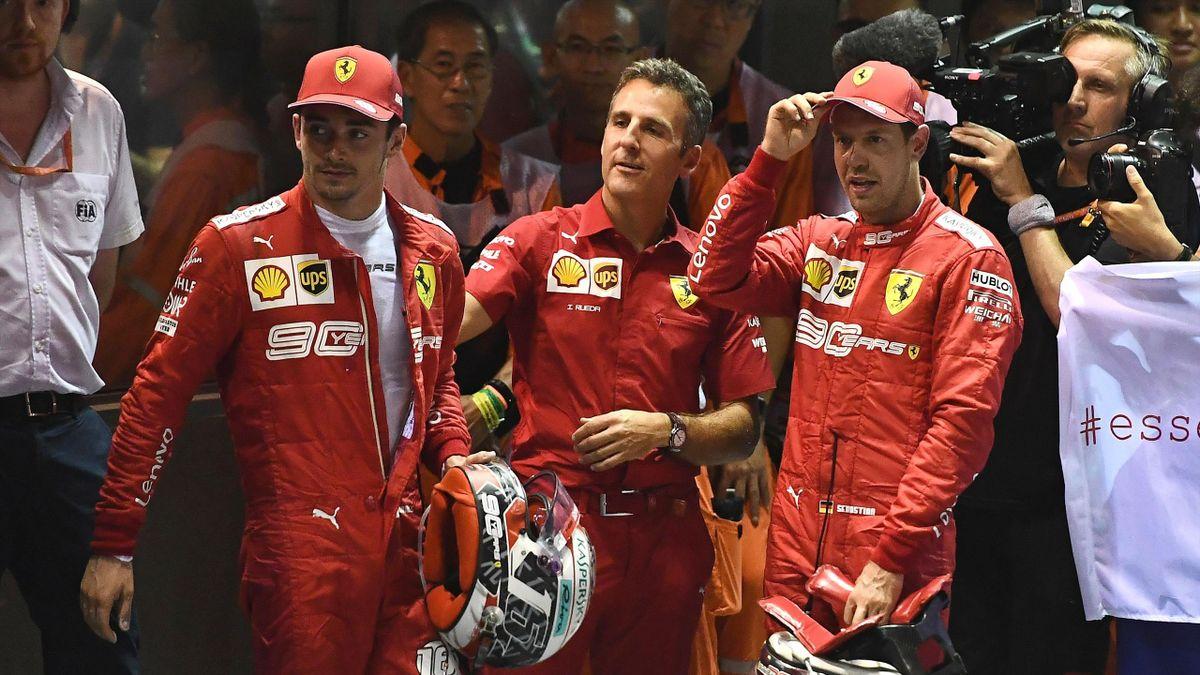 Leclerc e Vettel dopo il GP di Singapore 2019
