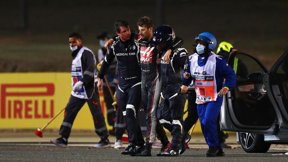 Romain Grosjean (Haas), miraculé après son crash terrible lors du GP de Bahrein