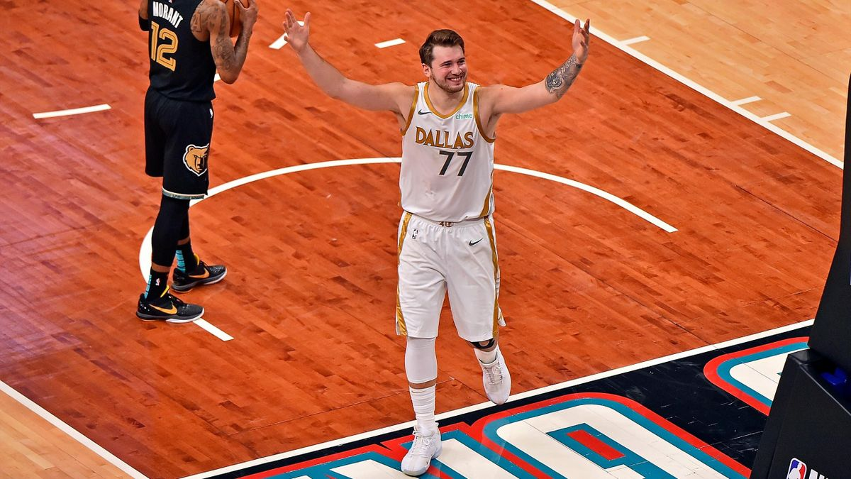 Luka Doncic #77 of the Dallas Mavericks reacts after scoring the game winning shot against the Memphis Grizzlies at FedExForum on April 14, 2021 in Memphis, Tennessee