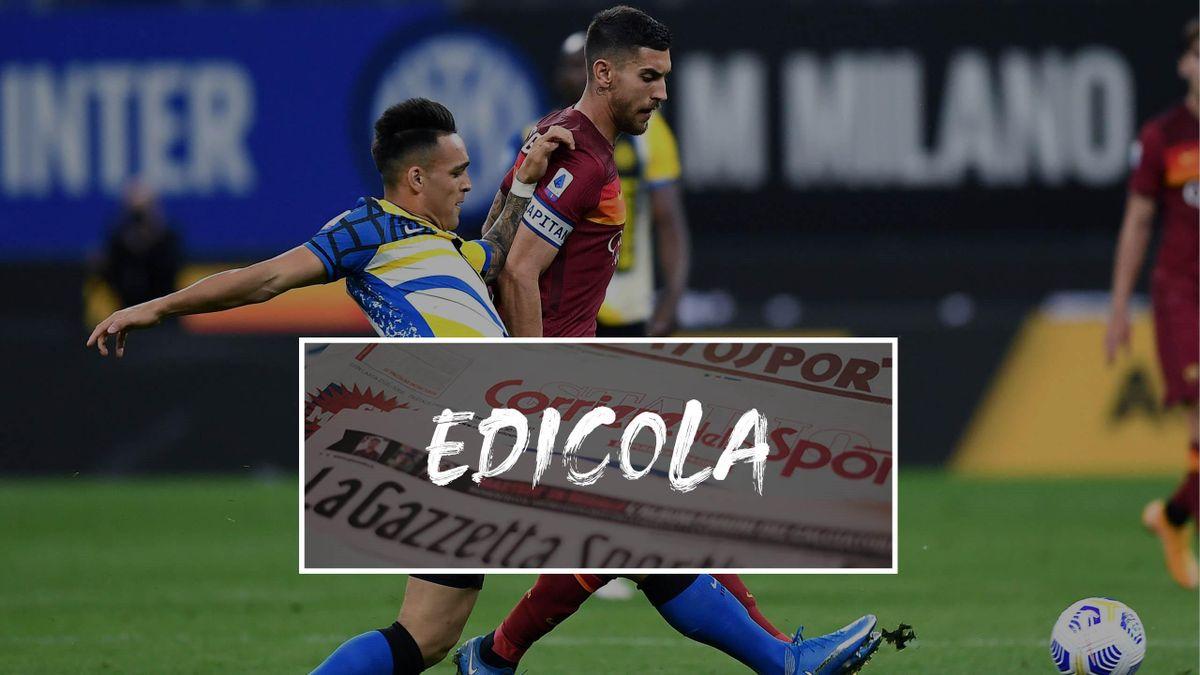 Lorenzo Pellegrini e Lautaro Martinez in contrasto in un Inter-Roma: i due sono finiti nel mirino del Barcellona