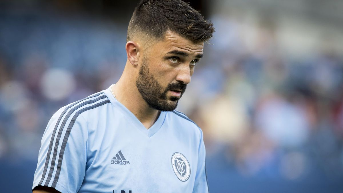 David Villa #7 of New York City during the Major League Soccer New York Derby match between New York City FC and New York Red Bulls at Yankee Stadium on August 22, 2018 in the Bronx borough of New York