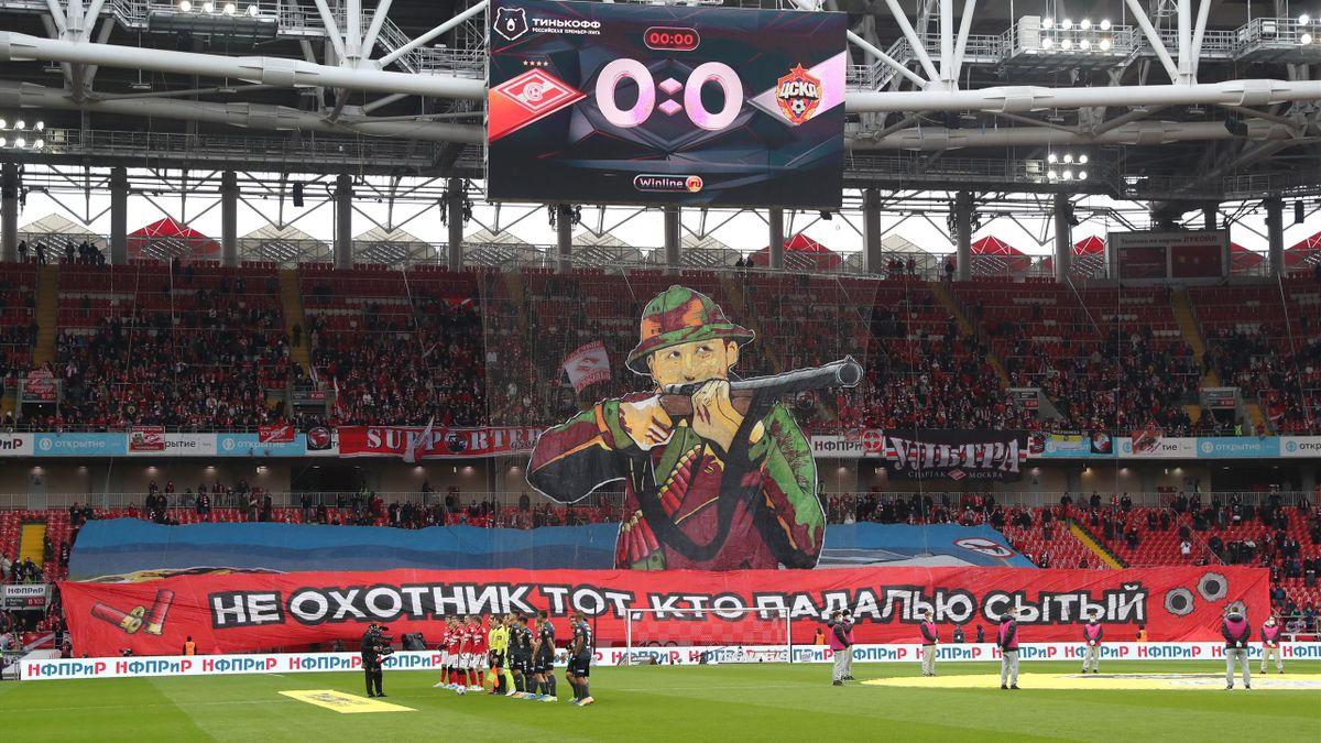 Баннер фанатов «Спартака» перед дерби с ЦСКА