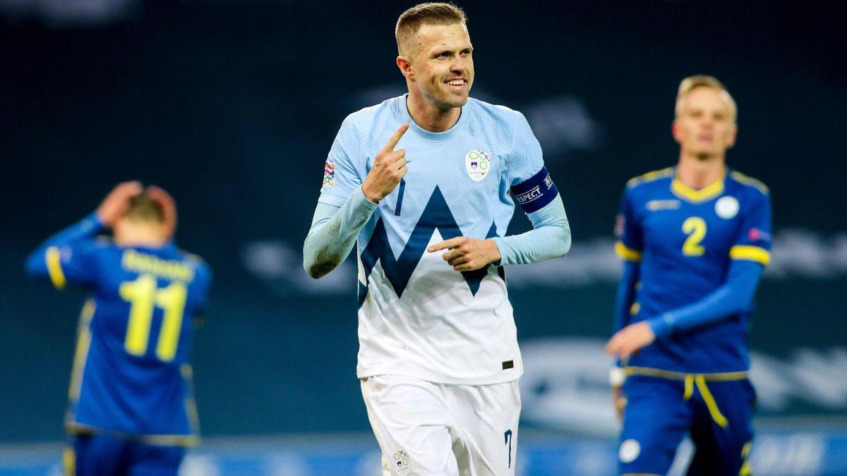 Josip Ilicic esulta dopo il gol in Nations League contro il Kosovo