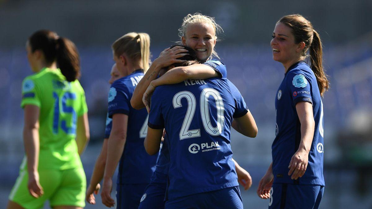 Sam Kerr of Chelsea celebrates with team-mate Pernille Harder, Wolfsburg v Chelsea, UEFA Women's Champions League, Szusza Ferenc Stadium, Budapest, Hungary, March 31, 2021