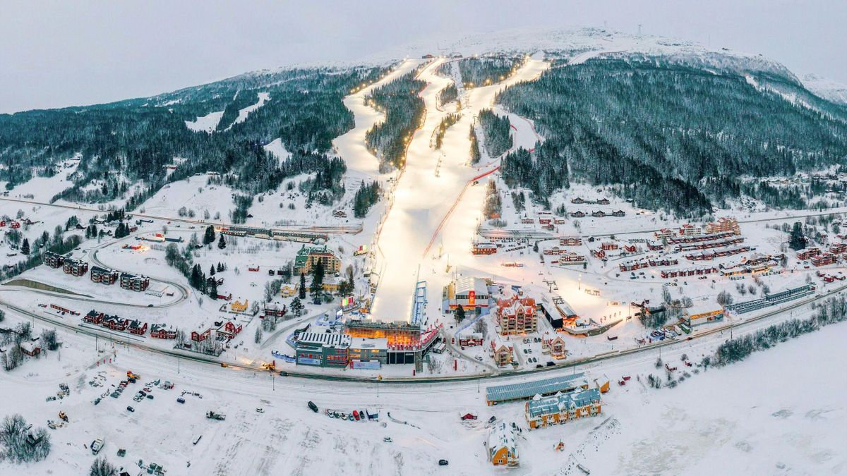 This aerial view shows the slopes and the finish area of Are are pictured during the preparation for the 2019 FIS Ski Championships in Are, Sweden on February 3, 2019.