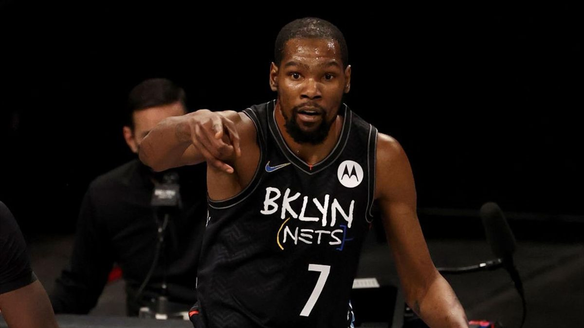 Kevin Durant #7 of the Brooklyn Nets celebrates his three point shot in the second quarter against the Toronto Raptors at Barclays Center on February 05, 2021