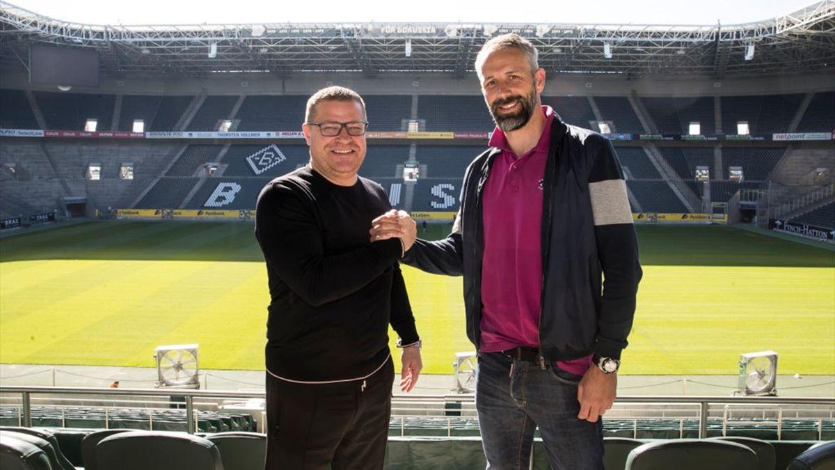 Gladbach-Sportdirektor Max Eberl (l.) und Trainer Marco Rose