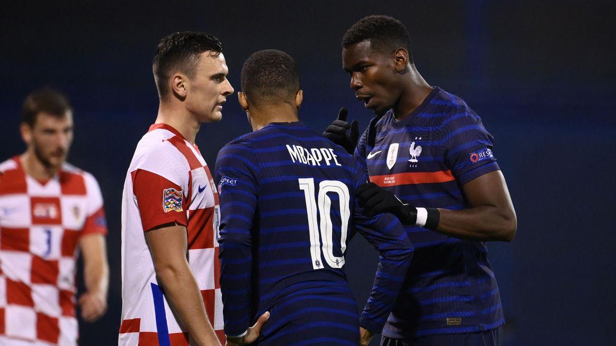 Paul Pogba et Kylian Mbappé face à la Croatie