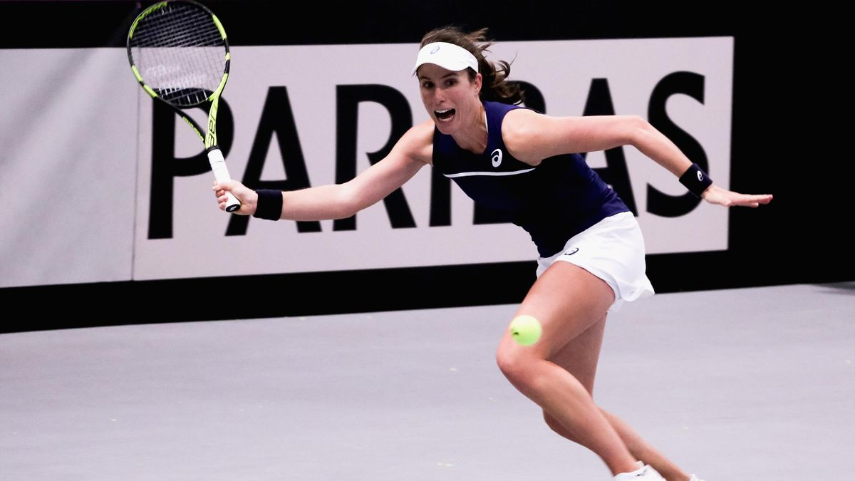 Johanna Konta of Great Britain plays a forehand shot during the Davis Cup by BNP Paribas Europe/Africa Group B match against Maria Joao Koehler of Portugal on February 7, 2018 in Tallinn, Estonia.