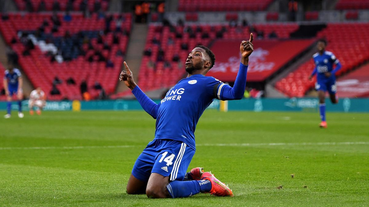 Kelechi Iheanacho of Leicester City celebrates