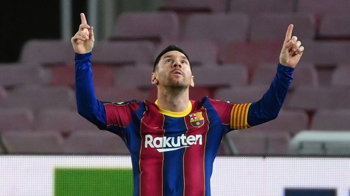 Barcelona's Argentinian forward Lionel Messi celebrates after scoring a goal during the Spanish league football match FC Barcelona against Athletic Club Bilbao at the Camp Nou stadium in Barcelona on January 31, 2021