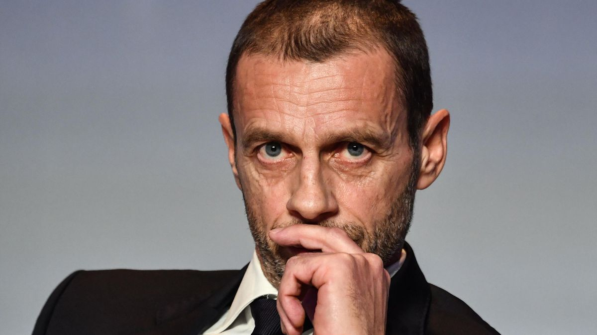 UEFA President Aleksander Ceferin looks on during a press conference following his re-election, at the 43rd Ordinary UEFA Congress on February 7, 2019 in Rome