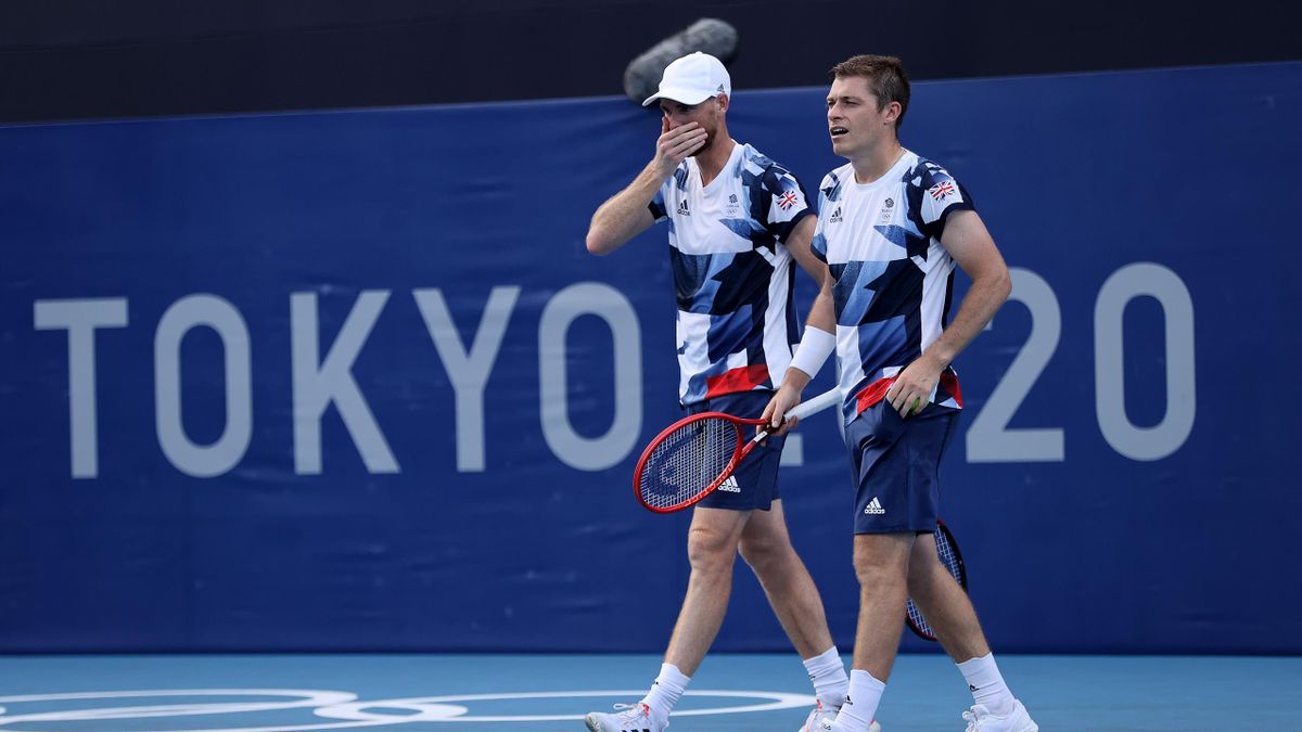 Neal Skupski of Team Great Britain and Jamie Murray of Team Great Britain during their Men's Doubles First Round match against Andres Molteni of Team Argentina and Horacio Zeballos