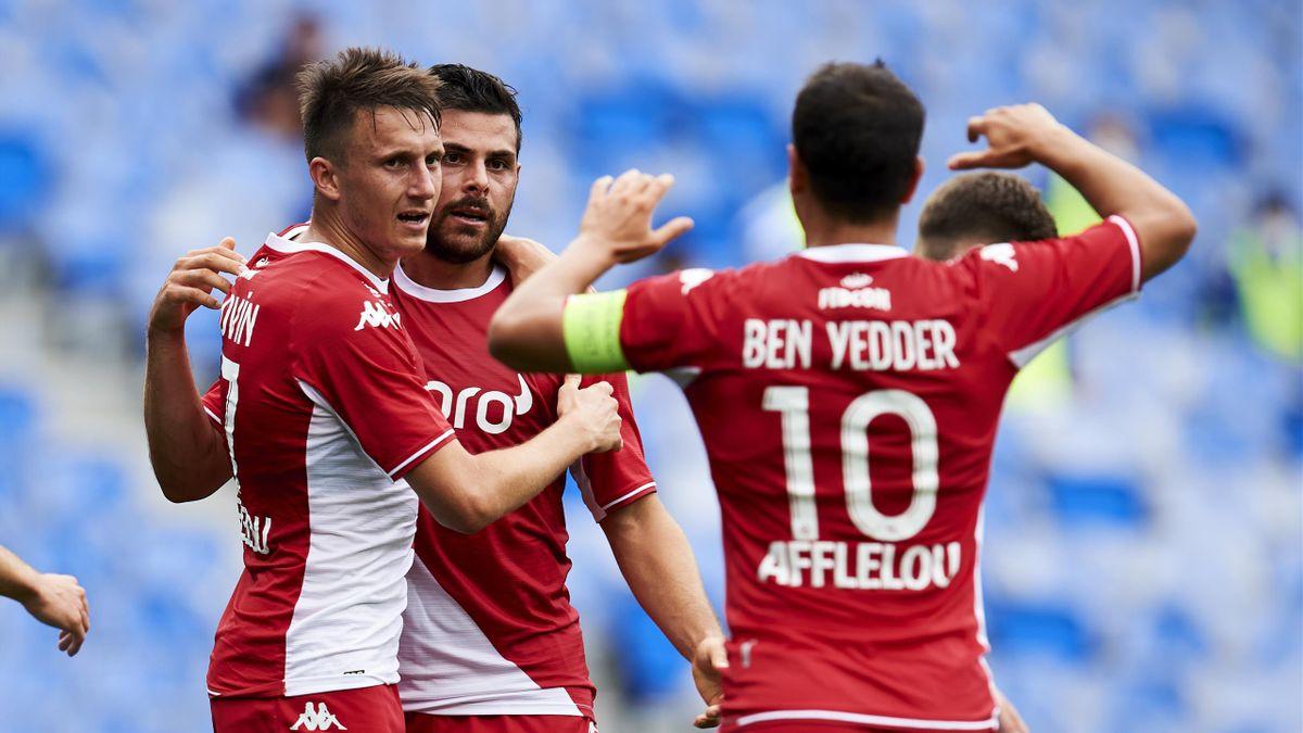 Aleksandr Golovin, Kevin Volland et Wissam Ben Yedder (AS Monaco) lors du match de préparation contre la Real Sociedad, le 28 juillet 2021