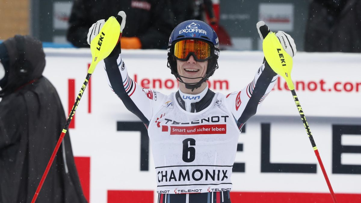 Clement Noel of France takes 1st place during the Audi FIS Alpine Ski World Cup Men's Slalom on January 30, 2021 in Chamonix, France