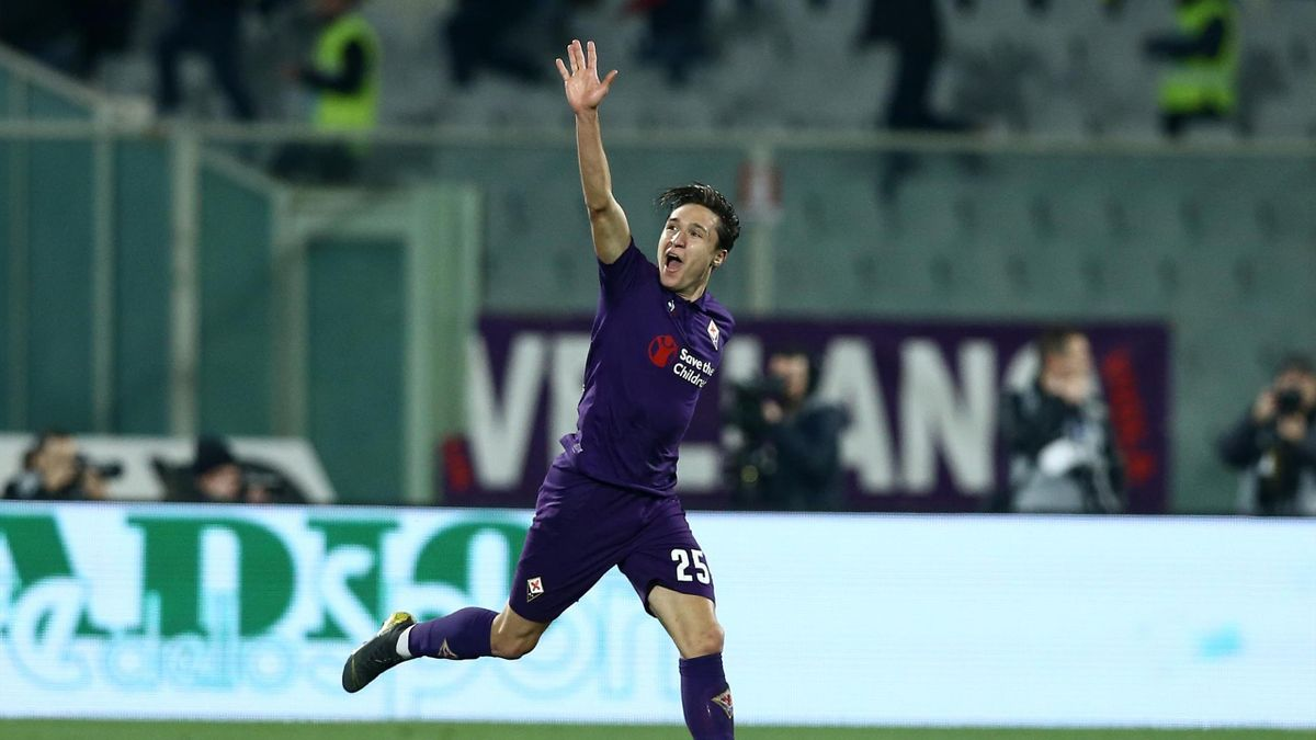 Italian Cup semifinal Federico Chiesa of Fiorentina celebration at Artemio Franchi Stadium in Florence, Italy on February 27, 2019.