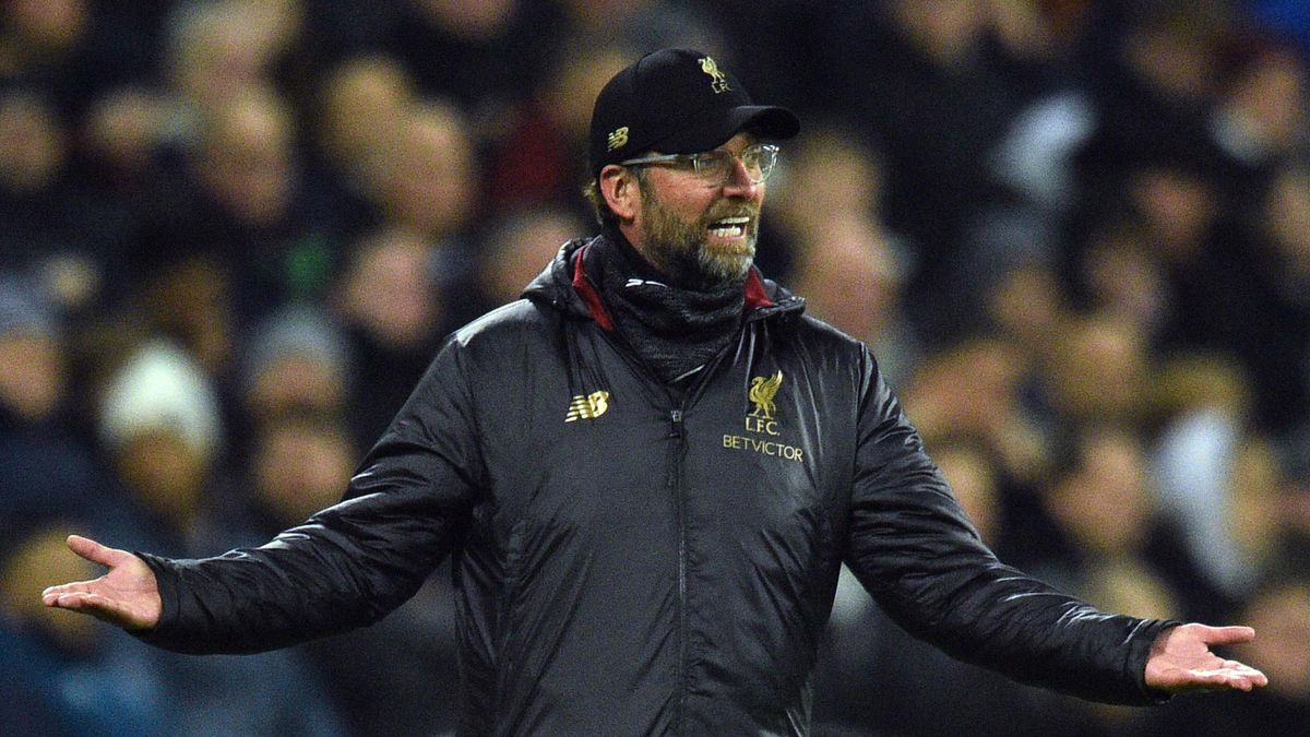 Liverpool's German manager Jurgen Klopp reacts during the English Premier League football match between West Ham United and Liverpool at The London Stadium, in east London on February 4, 2019.