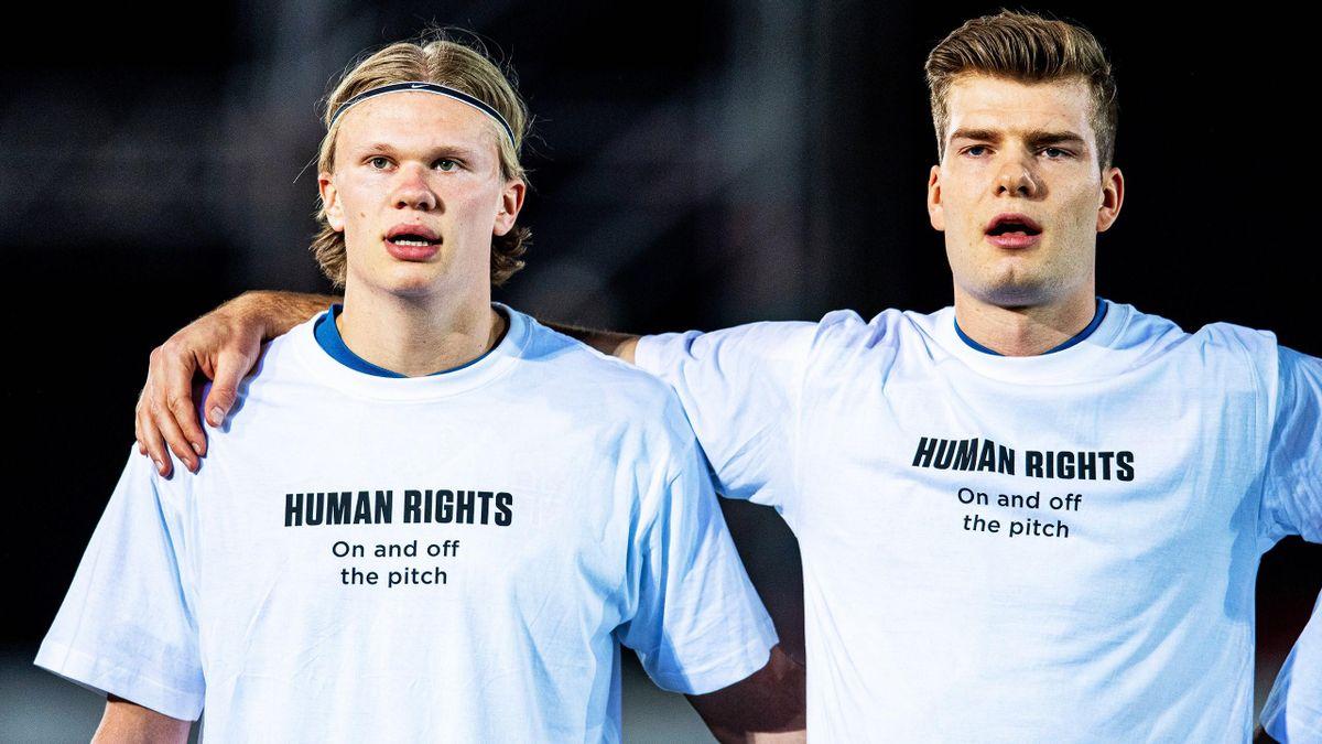 Norwegen-Stars Haaland (li.) und Sörloth (re.)