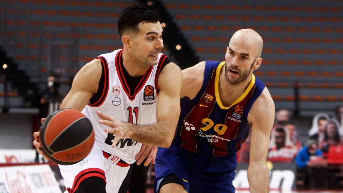Kostas Sloukas (Olympiacos) y Nick Calathes (Barcelona) - Euroliga