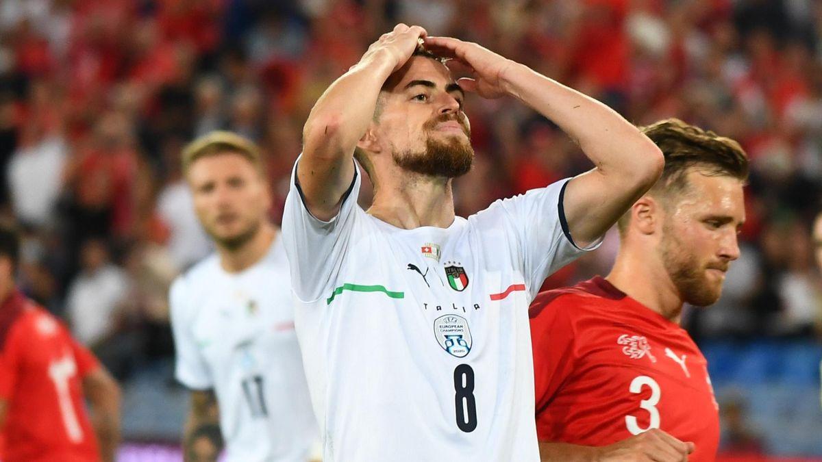 Jorginho reacts after missing a penalty