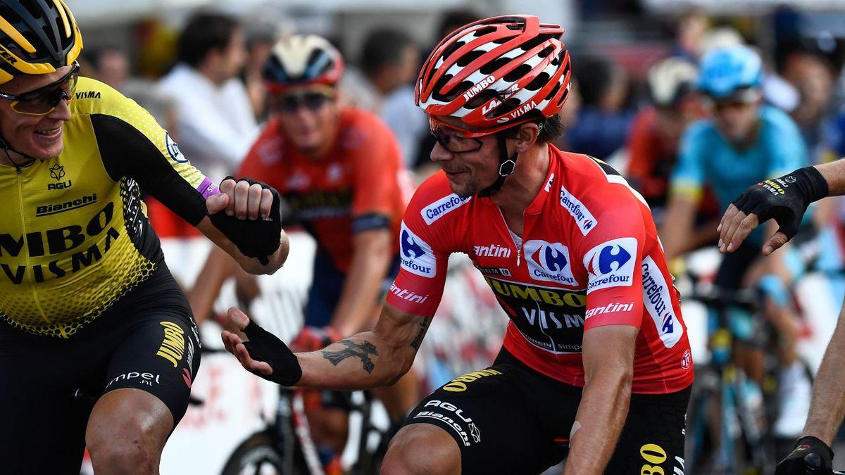 Vuelta: Titelverteidiger Primoz Roglic im Roten Trikot