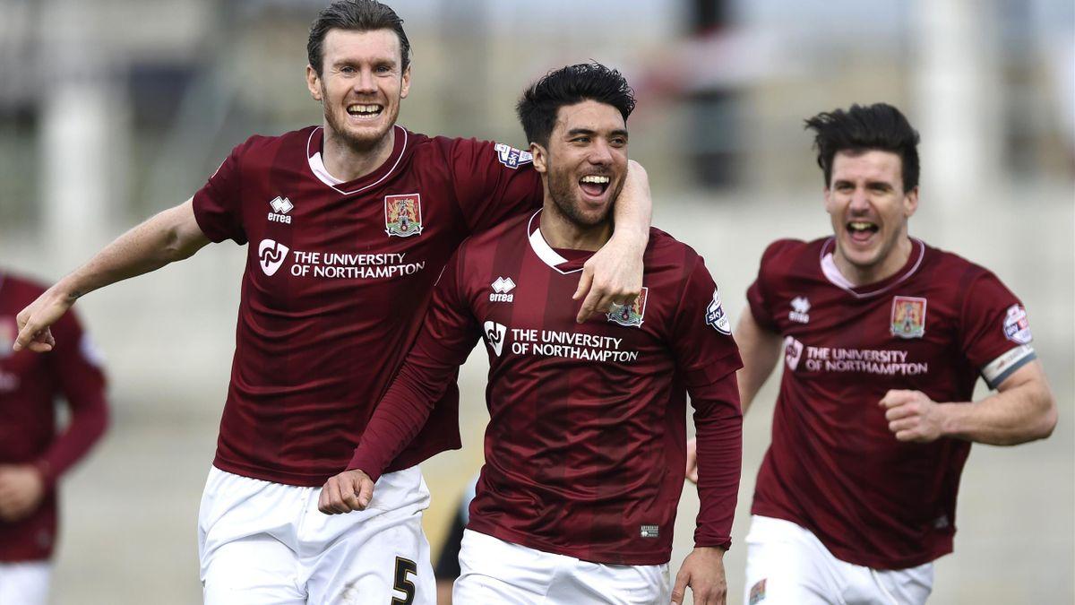 Northampton Town's Danny Rose celebrates with teammates