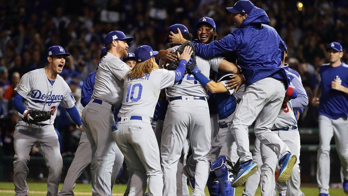 LA Dodgers celebrate reaching World Series.