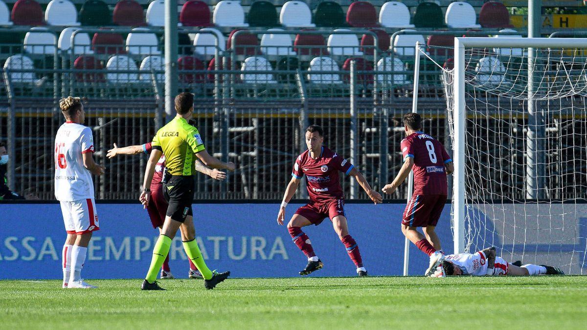 Cittadella-Monza, Playoff Serie B 2020-2021: Enrico Baldini (Cittadella) esulta dopo il gol del momentaneo 1-0 (Imago)