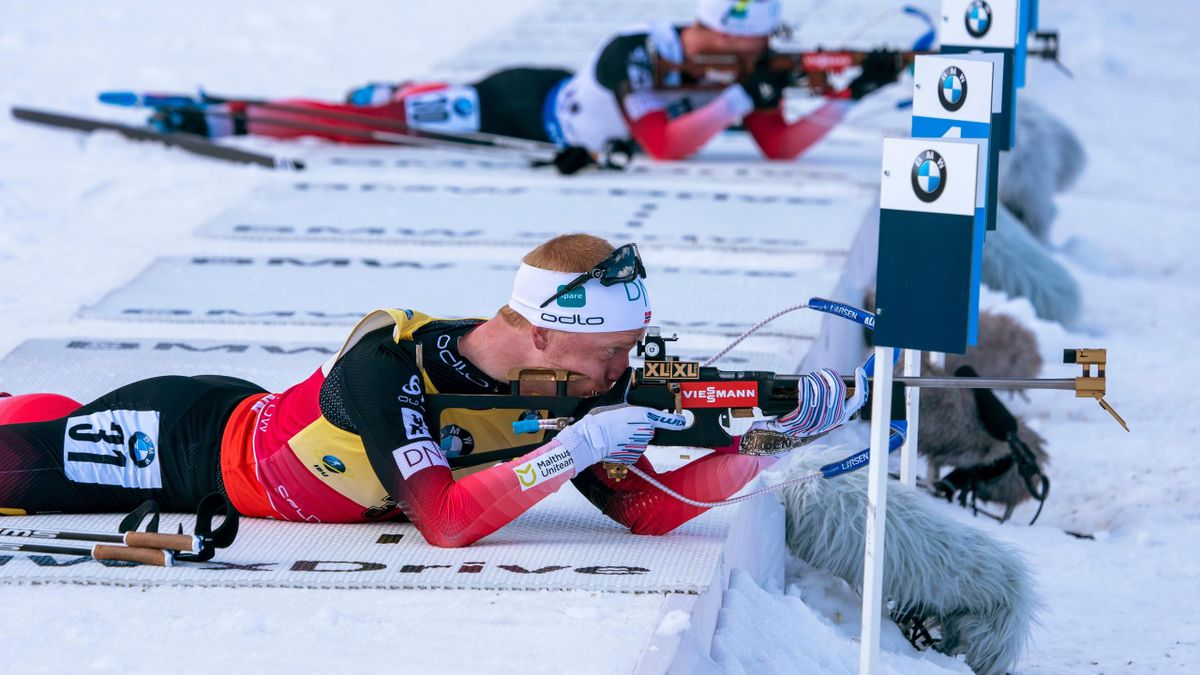 Johannes Thingnes Boe of Norway competes in the men's 10 KM sprint of the IBU World Cup Biathlon February 15, 2019 at Soldier Hollow Nordic Center in Midway, Utah