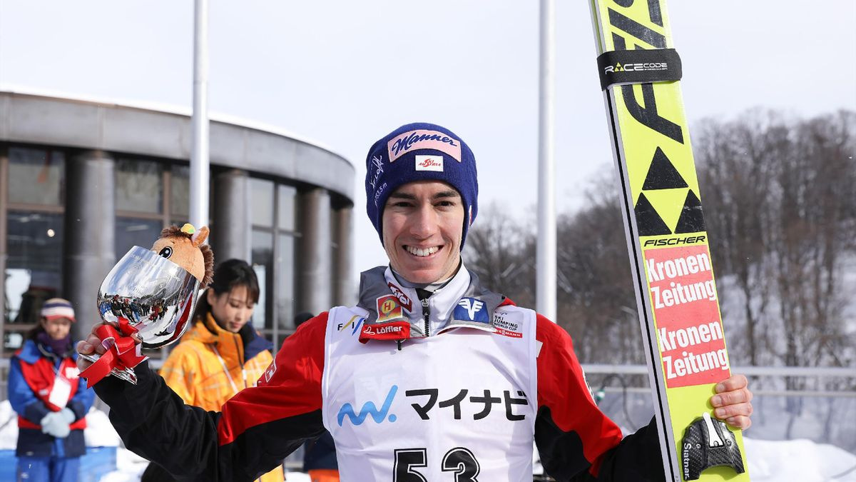 Austria's Stefan Kraft poses following the men's event of the ski jumping world cup in Sapporo, on January 27, 2019.