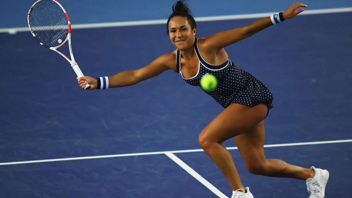 Heather Watson plays a forehand shot at the Battle of the Brits Premier League of Tennis