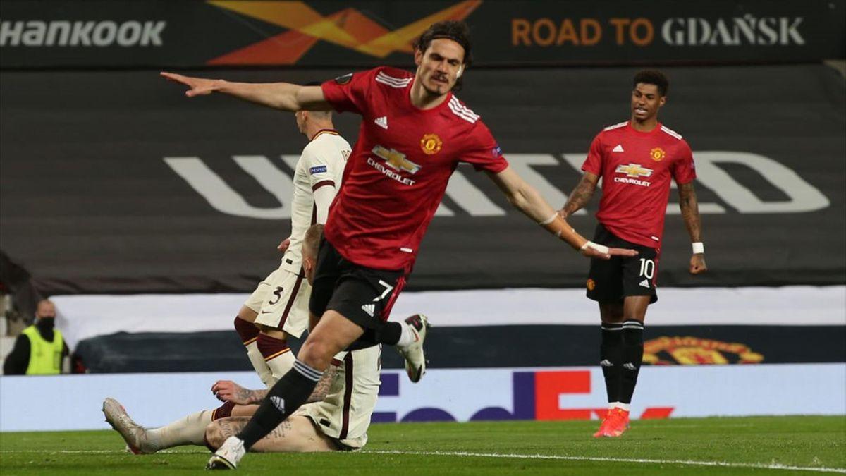 L'esultanza di Edinson Cavani - Manchester United-Roma Europa League 2020-21