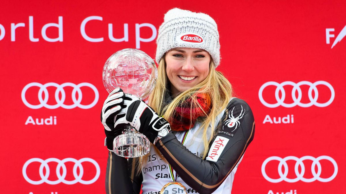 Mikaela Shiffrin of USA celebrates during the Audi FIS Alpine Ski World Cup Finals Women's Slalom on March 17, 2018 in Are, Sweden