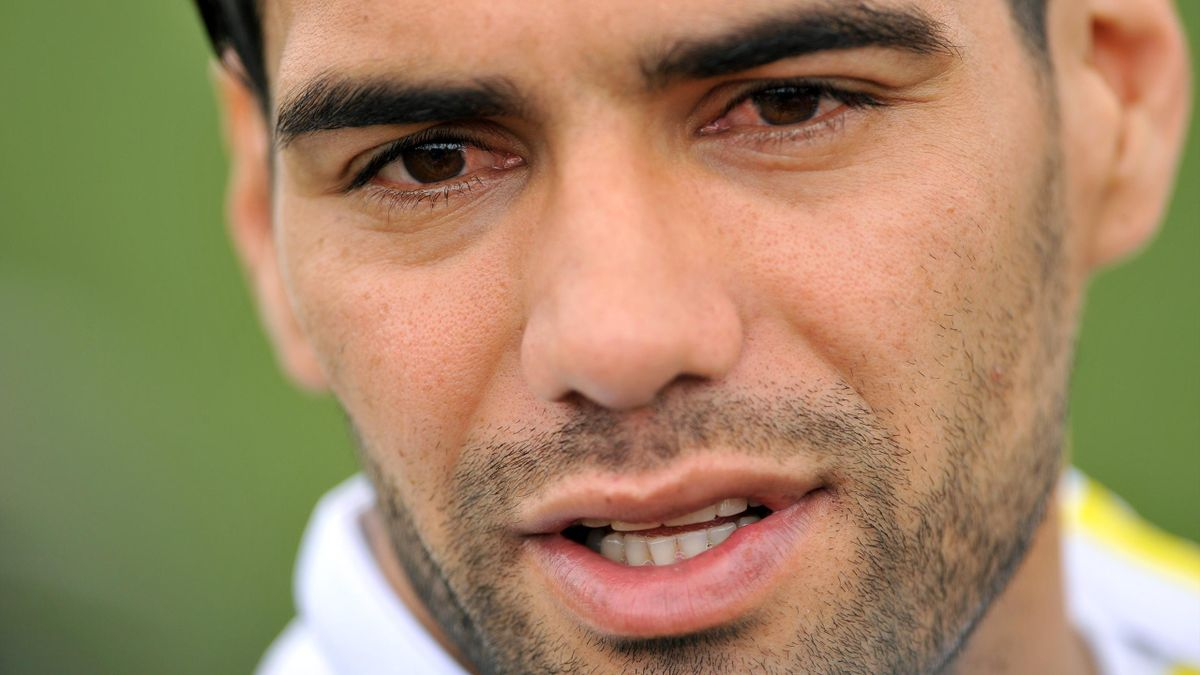 Colombian national football team player Radamel Falcao Garcia speaksto the press in Bogota, Colombia, on May 29, 2015.