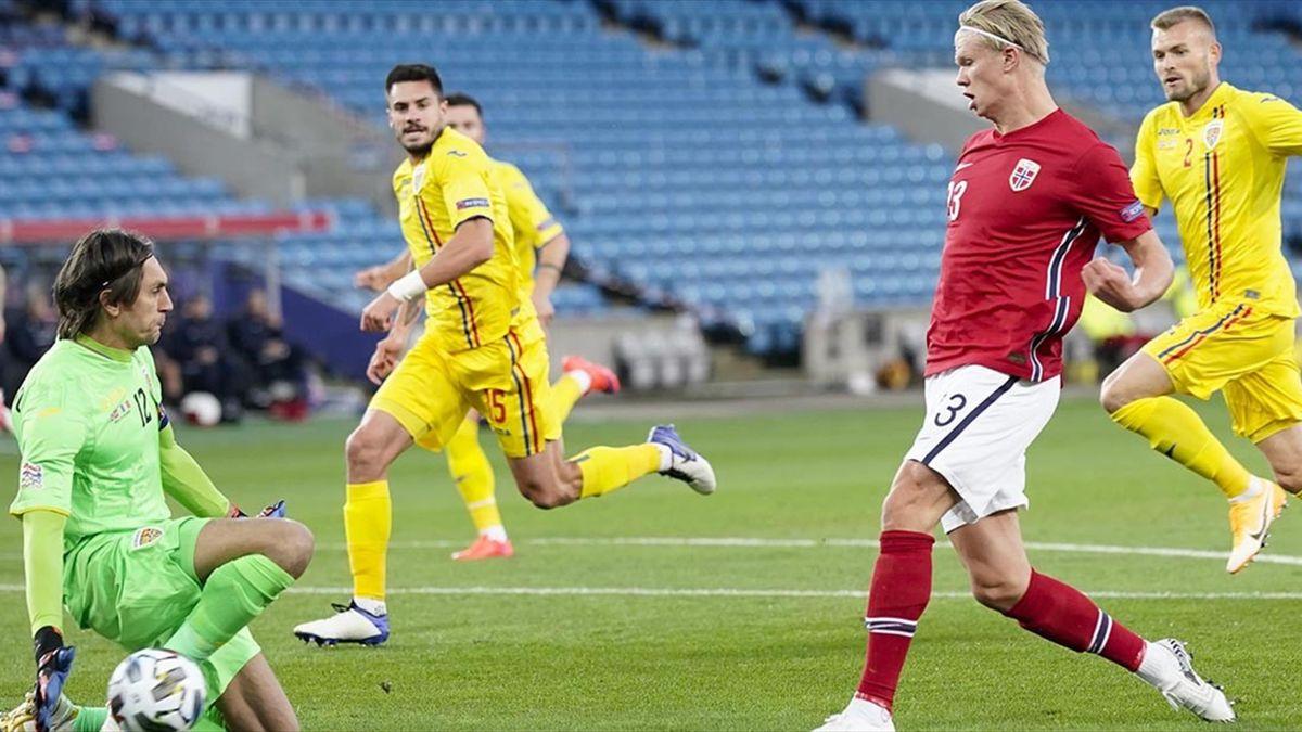 Haaland a marcat prima sa triplă la naţională în poarta Româiei