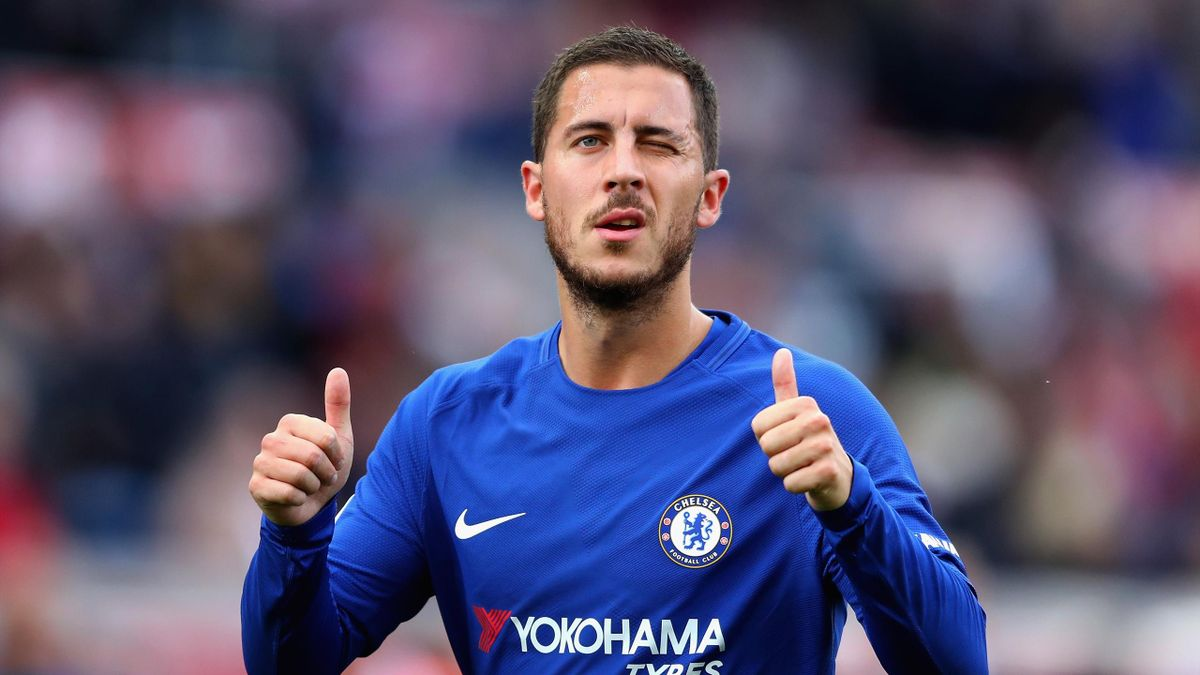 Eden Hazard of Chelsea celebrates his side's 4-0 victory after the Premier League match between Stoke City and Chelsea at Bet365 Stadium on September 23, 2017 in Stoke on Trent, England.