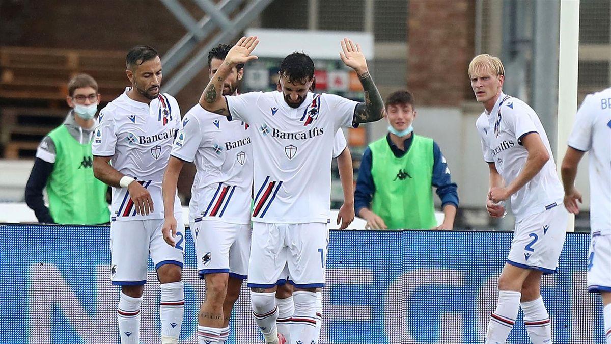 Francesco Caputo in gol in Empoli-Sampdoria