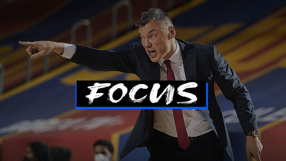 Sarunas Jasikevicius, Head Coach of FC Barcelonain action during the 2020/2021 Turkish Airlines EuroLeague Regular Season Round 22 match between FC Barcelona and Zenit St Petersburg at Palau Blaugrana on January 26, 2021 in Barcelona, Spain