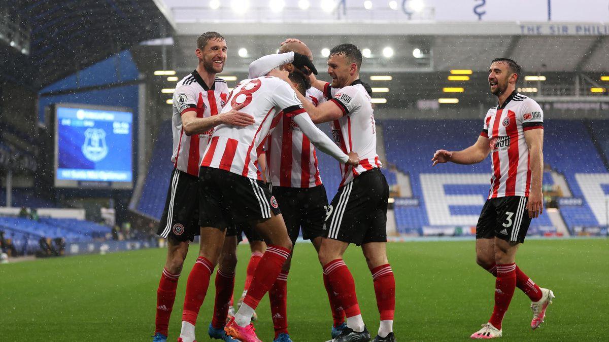 Daniel Jebbison of Sheffield United celebrates with Chris Basham