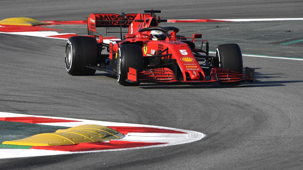 Sebastian Vettel of Germany driving the (5) Scuderia Ferrari SF1000 prepares to drive in the garage during day three of F1 Winter Testing at Circuit de Barcelona-Catalunya on February 21, 2020