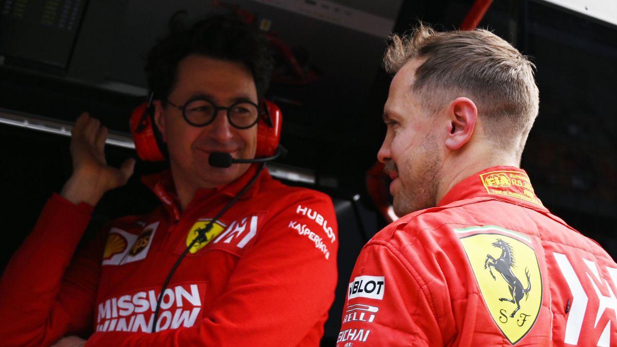 Mattia Binotto und Sebastian Vettel