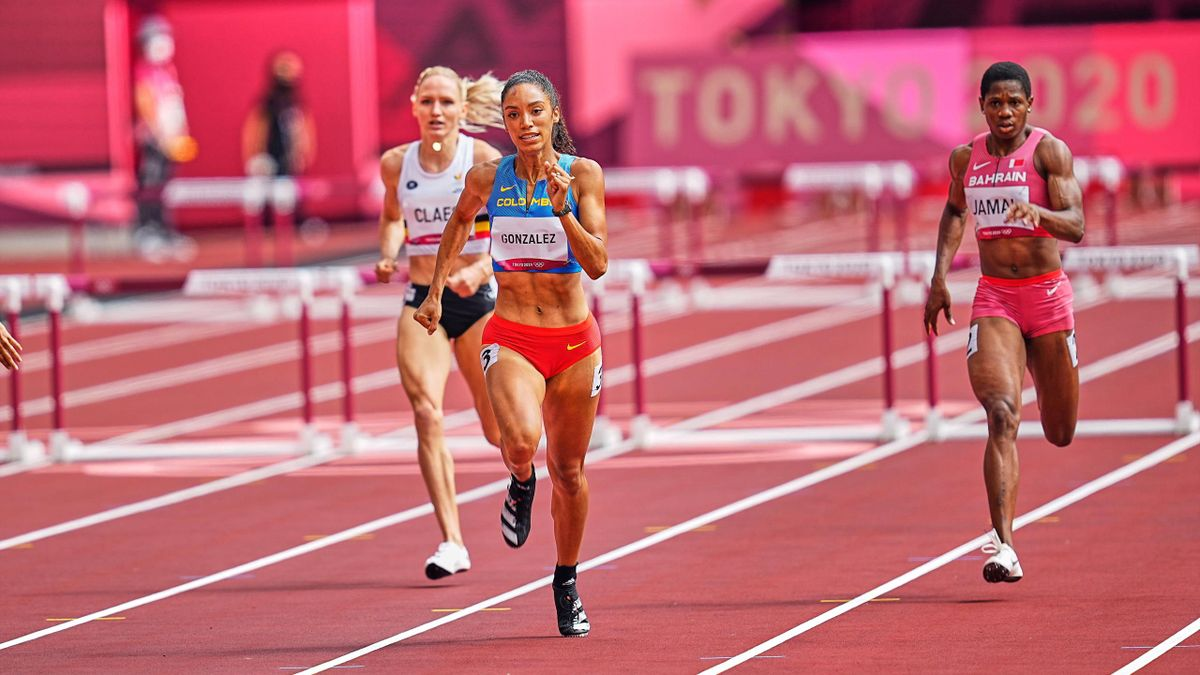 Melissa Gonzalez auf dem Weg ins Halbfinale der 400 Meter Hürden