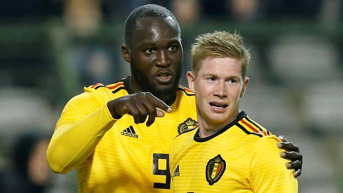 Belgium's Kevin De Bruyne celebrates scoring their fourth goal with Romelu Lukaku