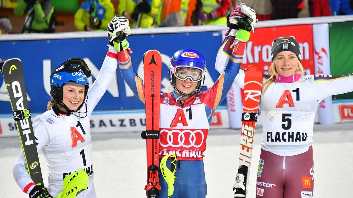 La joie de Mikaela Shiffrin après son succès à Flachau.