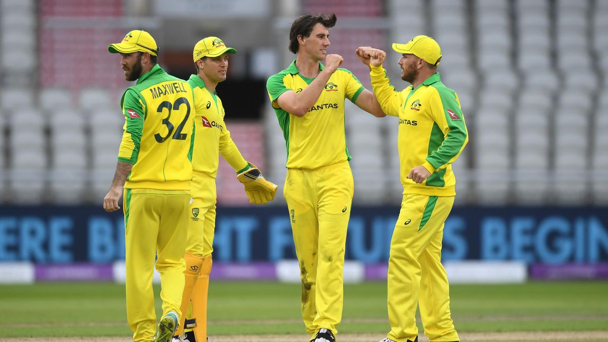 Pat Cummins of Australia celebrates the wicket of Jonny Bairstow of England with teammates during the 3rd Royal London One Day International Series match between England and Australia at Emirates Old Trafford on September 16, 2020 in Manchester, England