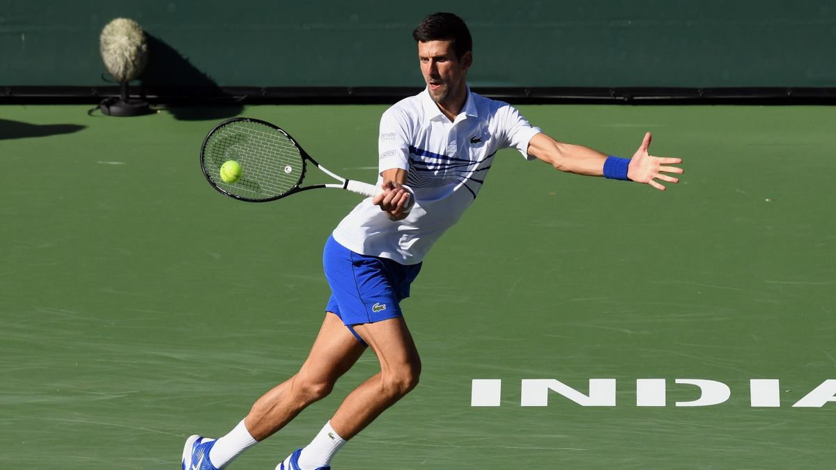 Novak Djokovic (SRB) returns a shot in the first set of a match during the BNP Paribas Open played on March 12, 2019 at the Indian Wells Tennis Garden in Indian Wells, CA.